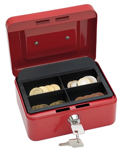 Wedo 145102X Geldkassette (aus pulverbeschichtetem Stahl, versenkbarer Griff, 4-Fächer-Münzeinsatz, Sicherheits-Zylinderschloss, 15,2 x 11,5 x 8,0 cm) rot