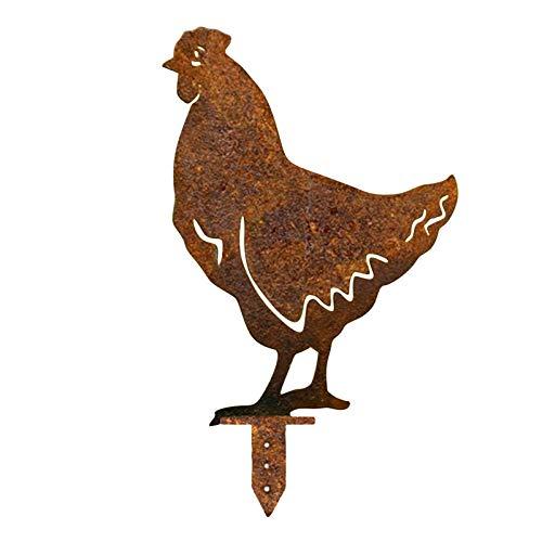 YANFANG DecoracióN Metal Pollo Pecking Animal Garden Stake Yard Art Ornamento,Pollo Patio Arte JardíN CéSped De Suelo Ornamento,Estatua Pollo Rooster Ornamento Ahuecada Al Aire Libre Gallo (B)