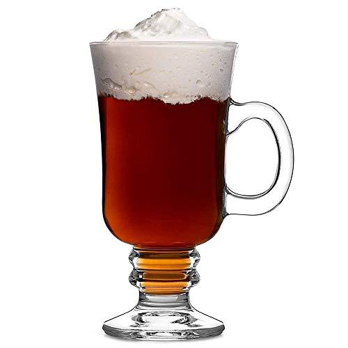 Hjj Tazza in Vetro per caffè Irlandese con Impugnatura Forma di Regale di Vetro a Parete Spessa, per cappuccini, Sidro di Stronzi, cioccolatini Caldi, Gelato e Altro