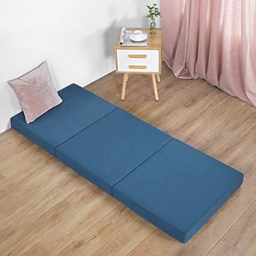 Olee Sleep 4 inch Tri-Folding Gel Memory Foam Mattress Topper, Green