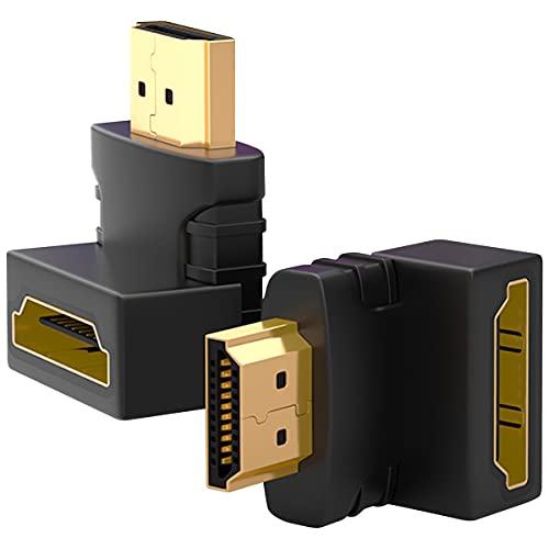 SAIBANGZI Pack De 2 Adaptador HDMI En áNgulo 270 Y 90 Grados Macho A Hembra Conectores HDMI En áNgulo Recto Adaptador De Cable HDMI Chapado En Oro Negro
