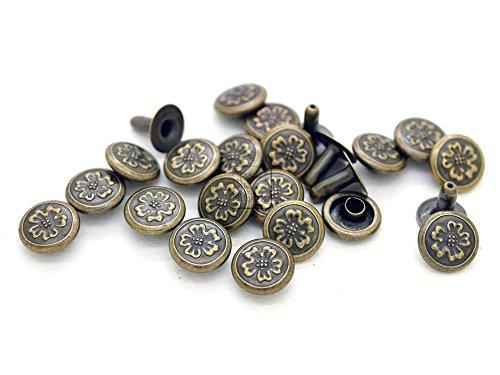 CRAFTMEmore 6 Designs 3/8' Antique Brass Round Rapid Rivet Vintage Studs for Bags Belts Bracelets Leathercraft Decoration (100 Pieces, Sakura Flower)