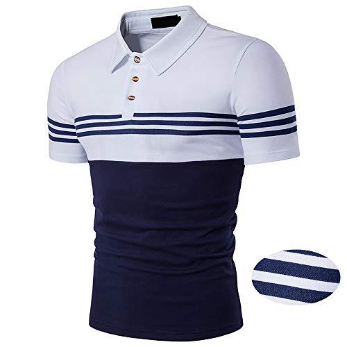 Adidase Lässiges Herren-Poloshirt, kontrastreich gestreiftes Poloshirt lockeres Kurzarm-Hemd,1,L