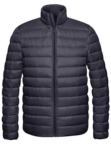 Wantdo Men's Packable Lightweight Puffer Down Coat Puffer Jacket Dark Grey Small