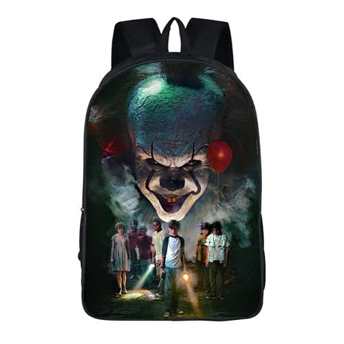 Mochila Stephen King's It Pennywise, mochila de protagonista de película de terror, adecuada para deportes, viajes y escuela, Pennywise2, 16', Mochila infantil