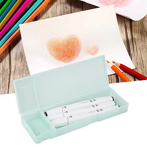 Fdit wasserdichte und langlebige Separate Quadrate Bleistiftbox, Schulkoffer, Textmarker Schulbedarf Home Office Stifte Rechner für(Green)