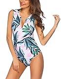 Ekouaer Women's Plus Size Swimsuits One Piece Tummy Control Zipper Front Swimsuit Surfing Print Bathing Suit