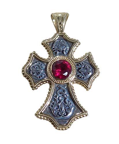 Superbe Croix Grecque Orthodoxe Byzantine Argent/Or avec Cabochon Couleur Rubis