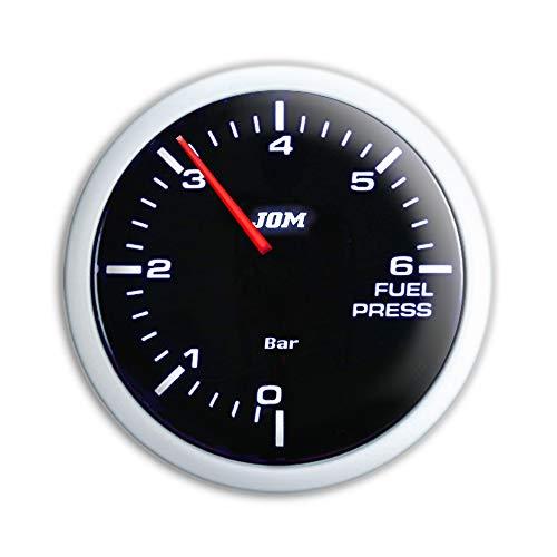 JOM Car Parts & Car Hifi GmbH 21119SW Manomètre, Pression d'essence, Noir, échelle à LED Blanc, Fonction veilleuse, Ø52mm