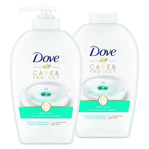 Dove Jabón de manos Care & Protect con dosificador y recambio 2x250...