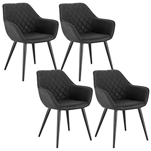 WOLTU Esszimmerstühle BH231an-4 4er Set Küchenstühle Wohnzimmerstuhl Polsterstuhl Design Stuhl mit Armlehne Anthrazit Gestell aus Stahl Stoffbezug