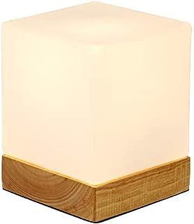 INJUICY Mini Cube Table Lamps, Glass Shade & Wooden Base Morden Bedside Desk Lamp for Bedside, Bedroom Living, Dining Room, Cafe Bar, Hallway Decor