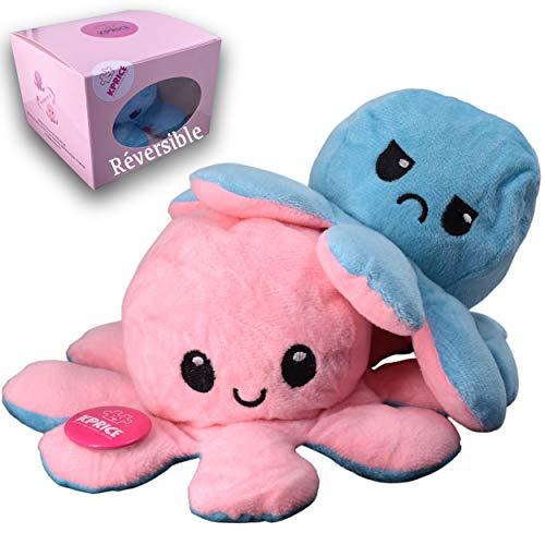 Kprice Pulpo Reversible Pulpito Peluche, Pulpitis Octopus Juguetes de Doble Cara, muñecas de Animales Blandos, numeradas para niños y Adultos, entregados en su Caja Original Limitada (Rosa)