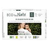 Eco by Naty, Taglia 1, 100 pannolini, 2-5kg, fornitura di UN MESE, Pannolino eco premium a base vegetale con lo 0% di plastica sulla pelle