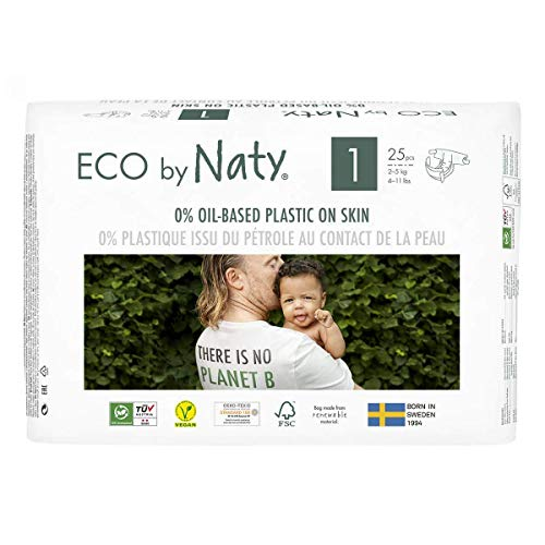 Eco by Naty, Size 1, 25 Nappies, 2-5kg, Plant-Based premium ecological nappy with 0% oil plastic on skin