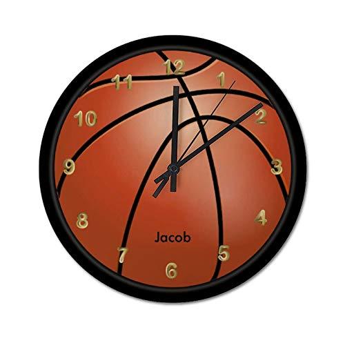 Reloj de pared de 30 x 30 cm, estilo de baloncesto, personalización de madera, reloj de sala de estar, reloj de decoración del hogar, fácil de leer