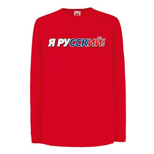 Kinder-T-Shirt mit Langen Ärmeln ЯРусский, Ich Bin Russisch, Russische Kleidung (14-15 Years Rot Mehrfarben)