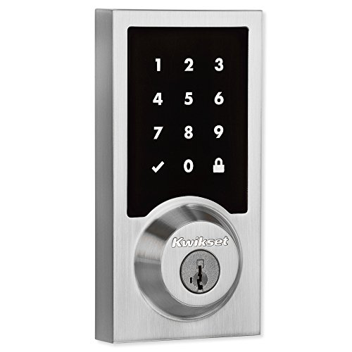 Kwikset 99160-016 SmartCode 916 Modern Contemporary Touchscreen Smart Lock Deadbolt featuring SmartKey Security and Z-Wave Plus, Satin Nickel