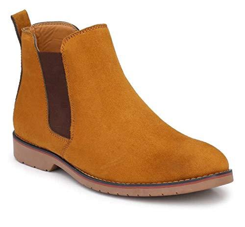 RIZ HOTER Men's Suede Leather Chelsea Shoe (Tan)