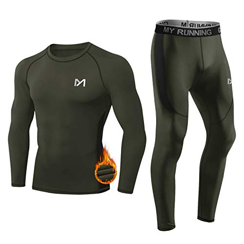 MEETYOO Thermounterwäsche Set Herren, Lange Funktionswäsche Atmungsaktiv Unterwäsche Sport Kompressionsanzug für Workout Skifahren Laufen Wandern