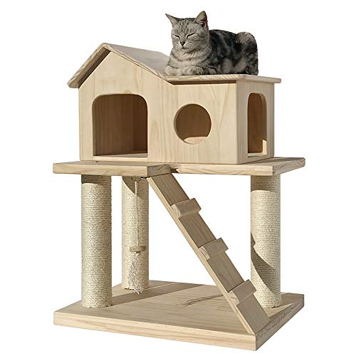 Cat Activity Trees Cat Play Tower Small Solid Wood Cat Climbing Frame Multifunctional Cat Litter Cat Jumping Platform One Sisal Cat Scratching Column Cat Cave Cat House