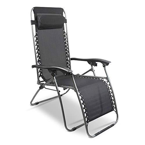 pas cher un bon Chaise longue SKYLANTERN en matière stretch, pliable, noire – Chaise longue en matière stretch avec coussins…