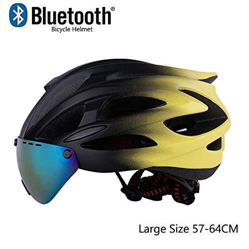 MTTKTTBD Erwachsene Fahrradhelm mit Bluetooth,Ultralight City Aerodynamik Verstellbar Radhelm mit Abnehmbarer Visier für Männer Frauen,Große Größe,CE-Zertifikat