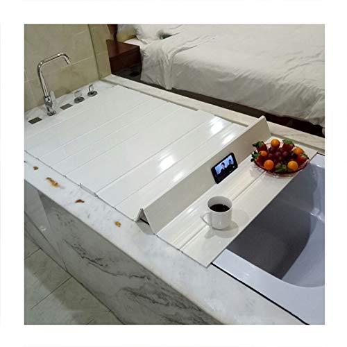MNBVH Badewannenabdeckungen Falten Badewanne Isolierabdeckung Weiß Staubdichtes Brett Auflage auf der Wanne PVC Badewannenisolationsabdeckung 186×80 cm