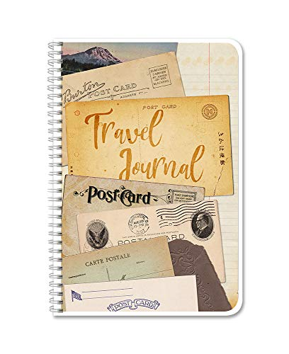 BookFactory Travel Journal/Traveling Itinerary Log Book/Logbook - Wire-O, 100 Pages, 6'x 9' (JOU-100-69CW-PP-(TravelJournal))
