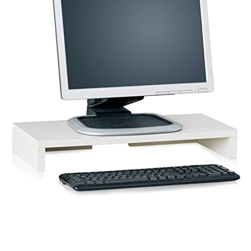 Way Basics TV PC Desktop Modern Computer Monitor Stand Screen Riser (Tool-Free Assembly and Uniquely Crafted from Sustainable Non Toxic zBoard Paperboard), White