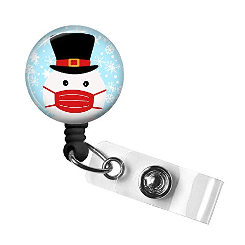 Snowman Mask Badge Reel, Christmas Retractable ID Tag, Badge Pull, Badge Holder with Swivel Alligator Clip, 34in. Nylon Cord, Medical MD RN Nurse Office Employee, Stocking Stuffer