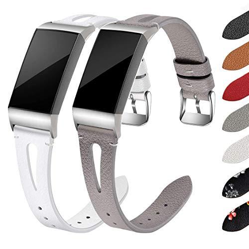 Fitbit Charge 3 / Charge 4 Cuero Correa, Compatible con Fitbit Charge 3 / Charge 4 Correa de Cuero, Reemplazo Ajustable clásico Pulsera Cuero Deportiva para Hombres y Mujeres, Blanco+Gris