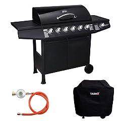 TAINO Basic 6+1 Gas Grill Set incl. deksel/drukverminder grillkar BBQ roestvrijstalen brander gas-grill TÜV Schwarz*