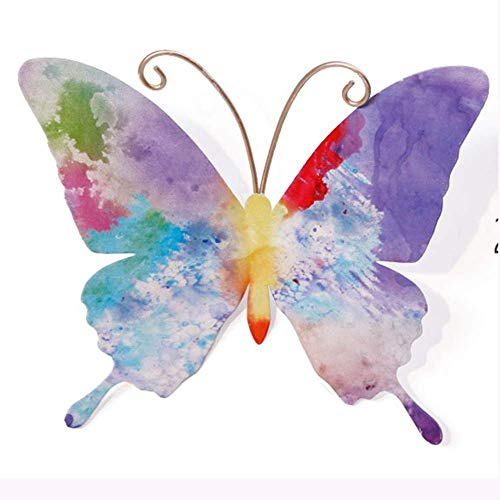 ZHENAO Artwork Wall Colorful Butterfly Wall Decor-3D Metal Wall Art Design-Hand-Painted Modern Home Decoration-for Indoor or Outdoor-8 Styles Ready to Hang Bedroom/D