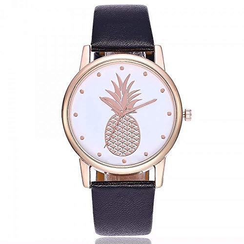 Relojes Reloj Watches Relojes De Pulsera Reloj De Patrón De Piña De Moda Correa De Cuero Relojes De Pulsera De Cuarzo Relojes De Vestir Para Mujer Reloj-Negro