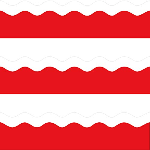Red Scalloped Bulletin Board Borders for Valentine's Day Classroom Decoration 36 Feet