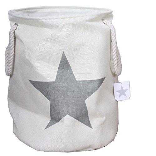 Ropa Sucia En Color Crema con estrella en gris Vintage de lino aspecto de la colada juguete cesta ropa sucia
