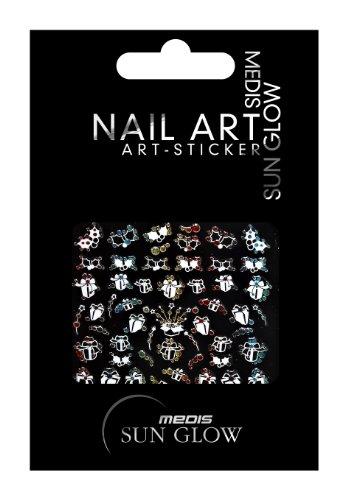 Medis Sun Glow 4590 Stickers pour nail art Thème Noël Blanc/jaune/rouge/vert/bleu