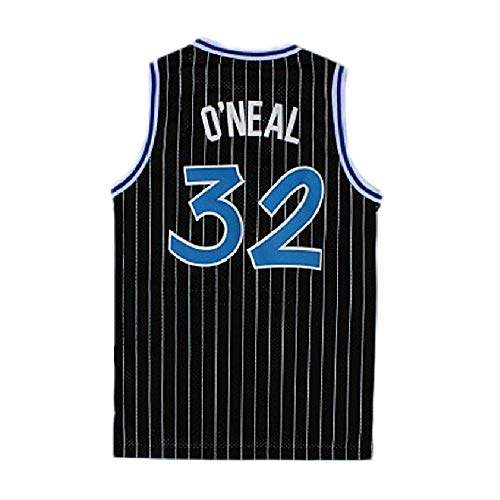 Men's O'Neal Jersey Sports #32 Jerseys Shaquille Basketball Blue White and Black Jersey(S-XXL) (L, Black)