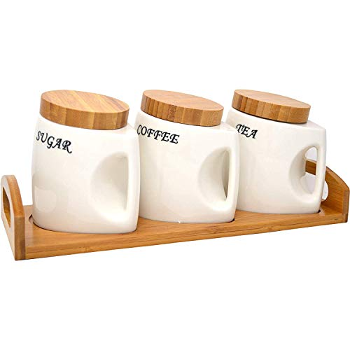 Canister Set with Handle Coffee Tea Sugar Ceramic Wooden LID Kitchen Storage JAR