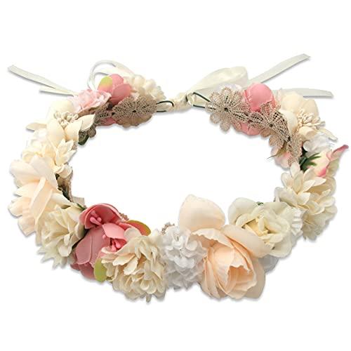 Hochzeit Boho Blumenkrone Mädchen Floral Stirnband Kranz Kopfschmuck Girlande Halo Haar Kranz Festival Party Rot Gratis (Beige)