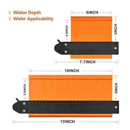 Contour Gauge Profile Tool GOXAWEE Precisely Copy Irregular Shape Duplicator -Tightness Adjustable- Irregular Welding Woodworking Tracing - Must Have Tool for DIY Handyman, Construction (Orange)