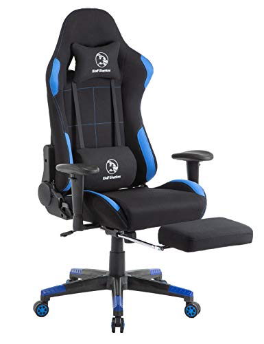 Gaming Chair Ergonomic Computer Game Chair Seat Height Adjustment Recliner Swivel Rocker E-Sports Office Chair with Headrest and Lumbar Pillow (Fabric, Blue/Black with Footrest) blue chair gaming