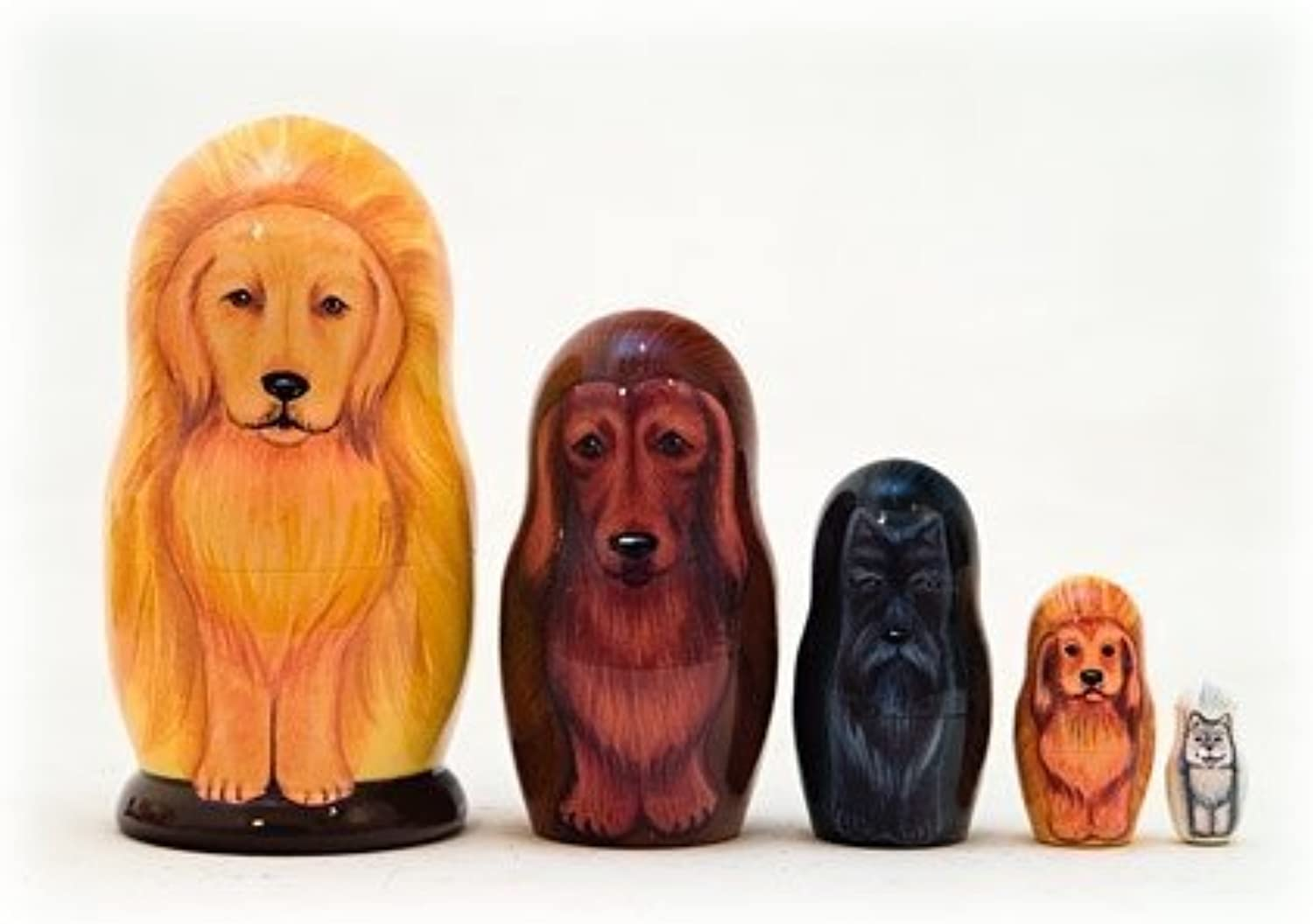 golden Retriever Dog 5 Piece Russian Wood Nesting Doll Made in Russia Decoration by golden Cockerel
