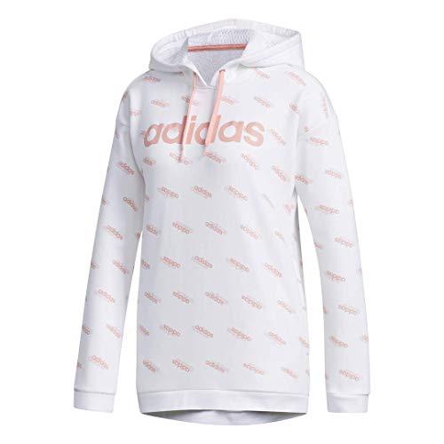 adidas Women's Favorites Hooded Sweatshirt White/Glory Pink Small