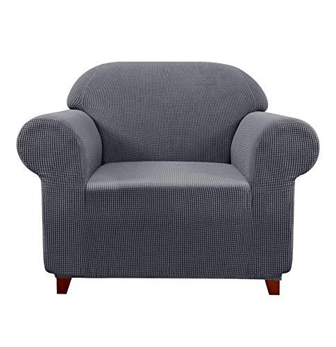 subrtex Spandex Sofabezug Stretch Sofahusse Couchbezug Sesselbezug Elastischer Antirutsch Stretchhusse für Sofa (1 Sitzer, Grau)