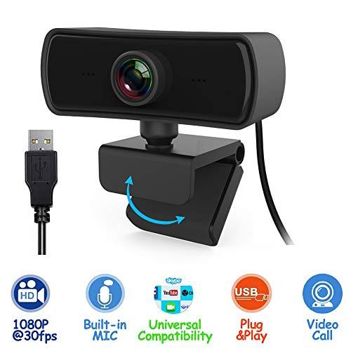 HD Webcam, Full HD 1080P Webkamera (30fps), Plug & Play USB-Webcam mit integriertem Mikrofon, multifunktional, für Laptops und Desktop, YouTube, Skype, Videoanrufe, Konferenzen, Studieren