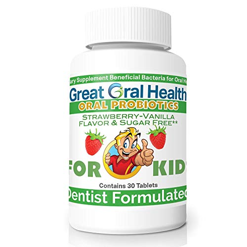 Childrens Oral Probiotics – Oral Care Probiotic for Kids Cavity Prevention & Bad Breath Treatment Supplement w/ BLIS K12 M18 Mouth & Gum Health Dentist Formulated 30 Lozenge Strawberry –eBook Included