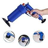 Limpiador de tuberías de aire comprimido, desatascador de desagüe, con mango de pistola y 4 cabezales para inodoro, baño, cocina