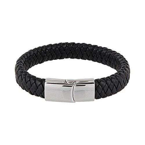 AURORIS Echtleder-Armband oval geflochtenes Nappalederband Breite 12mm mit Magnetverschluss aus Edelstahl - Länge: 24cm / Farbe: schwarz